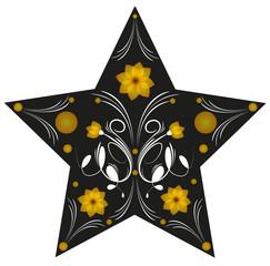 illustrazione astratta di stella decorata con fiori