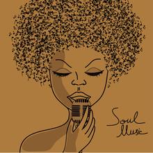 Sylwetka Singer z notatkami muzyczne włosy