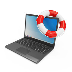 Modern Laptop with Red Lifebelt on white background