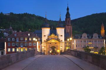 Heidelberg Alte Brücke bei Nacht