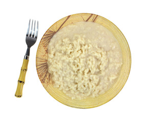 Risotto Rice Cheese Sauce Fork Top View