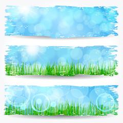 Beautiful soft bokeh nature banner set