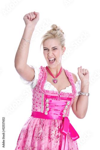 Lachendes junges Mädchen auf dem Oktoberfest in München