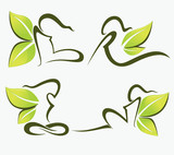vector collection of ecological girls symbols and green leaves