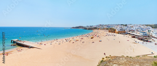 Wonderful summer panorama of sea and beach in Albufeira. Portuga