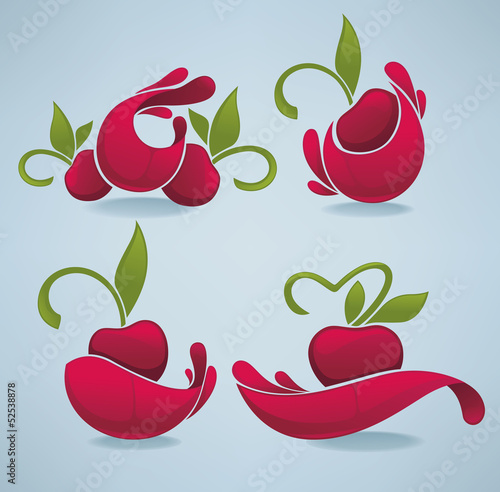 vector collection of cherry juice stickers and emblems