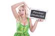 Werbung für das Oktoberfest in München - Frau mit Schild