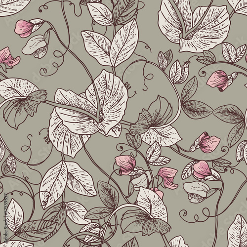 Seamless Floral Background with Blooming Peas © depiano