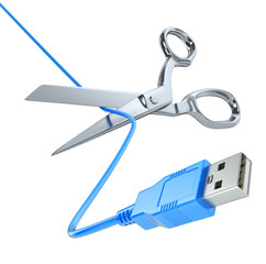 Scissors cutting the USB cable