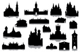 Set of buildings silhouettes