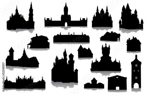 """""""u9ed1u8272""""]中世纪剪影图像城堡城市塔外观大"""