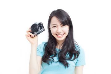 カメラを持った女性