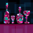 Abstract background with decanters, wine glass and space for tex
