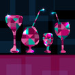 Abstract background with cocktails, wine glass and space for tex