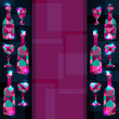 Abstract background with bottles, wine glass and space for text