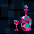 Abstract background with decanter, wine glass and space for text
