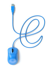 Blue mouse and cable in the shape of e-sign