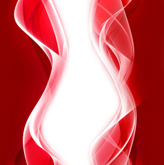 Abstract pink and white waves on red background