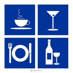Icone ristorazione fondo blu