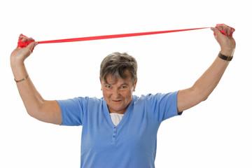 Seniorin mit Gummiband - Senior woman with rubber band