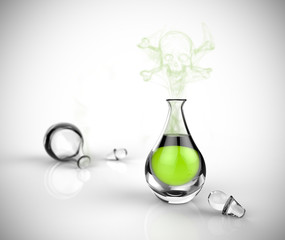 A bottle of green poison with a skull and fumes