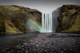 Skogafoss waterfall with rainbow poster