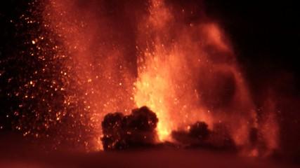 Etna - Lava fountain in the smoke