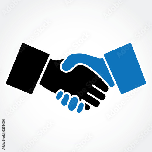 Shaking hands blue
