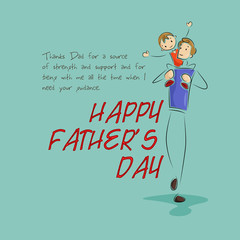 vector illustration of father giving piggyride to son