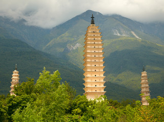 Three Pagodas in Dali. Yunnan province, China.