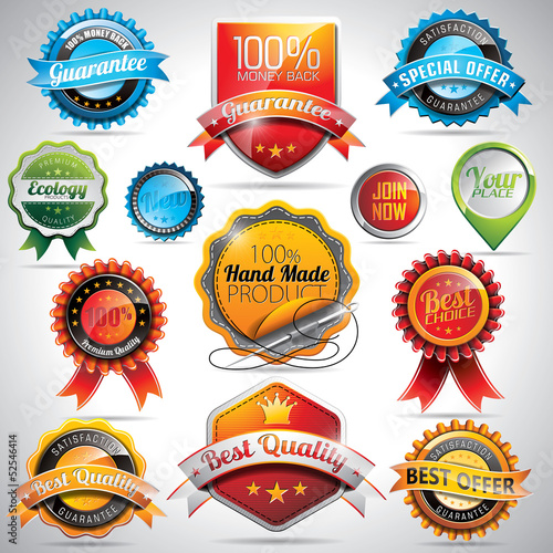 Vector set of labels and badges illustration