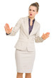 Business woman showing calm down gesture