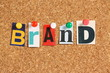 The word Brand on a cork notice board