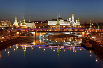 Night panorama of the Moscow Kremlin. Moscow, Russia