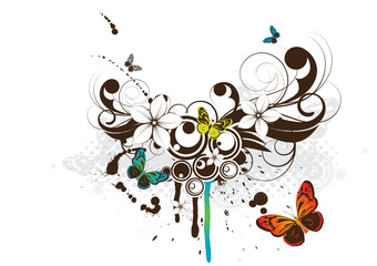Floral design element with butterfly