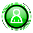 account green circle glossy icon