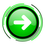 arrow right green circle glossy icon