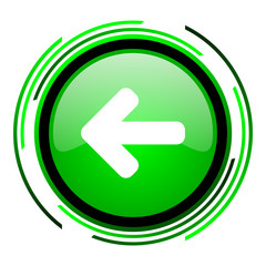 arrow left green circle glossy icon