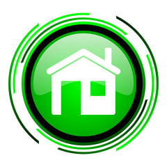 home green circle glossy icon