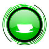 coffee cup green circle glossy icon