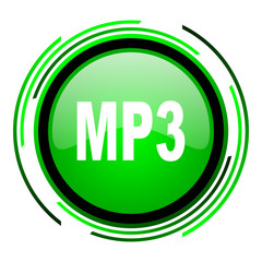 mp3 green circle glossy icon