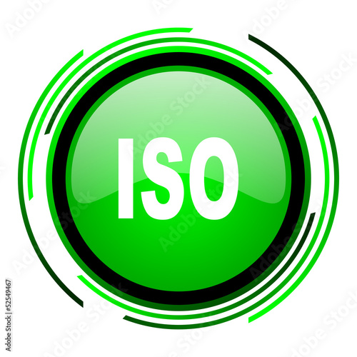 iso green circle glossy icon
