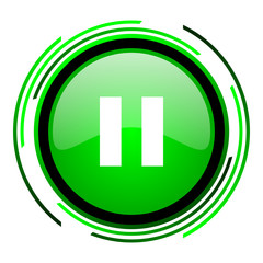 pause green circle glossy icon