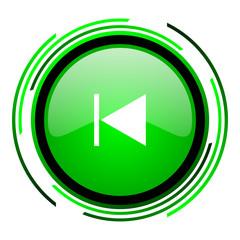 prev green circle glossy icon