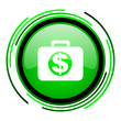 financial green circle glossy icon