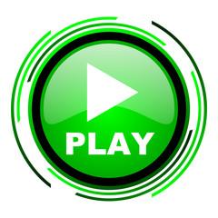 play green circle glossy icon