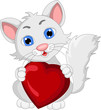 cute cat cartoon expression with love heart