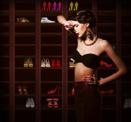 Confusion. Upset Woman Choosing what to Wear. Wardrobe. Footwear
