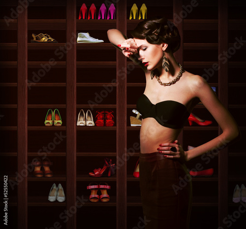 Confusion. Upset Woman Choosing what to Wear. Wardrobe. Footwear