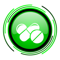 pills green circle glossy icon